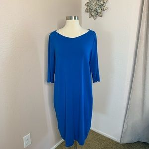 Eileen Fisher Tunic Dress 3/4 Sleeve Color Blue